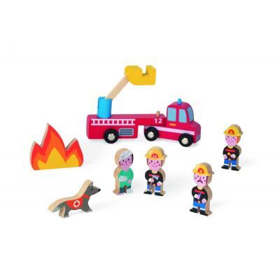 Drevené postavičky Hasičov a hasičské auto
