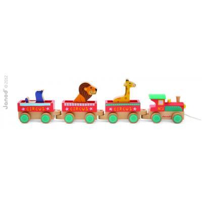 Drevený vlak Cirkus  s 3 zvieratkami