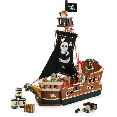 Pirátska loď - drevený hrací set