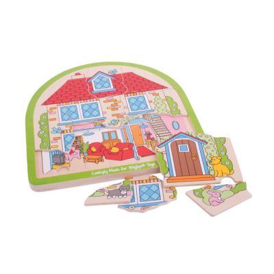 Drevené viacvrstvové puzzle Dom