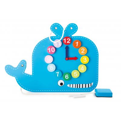 Veľryba -  didaktická tabuľa s hodinami