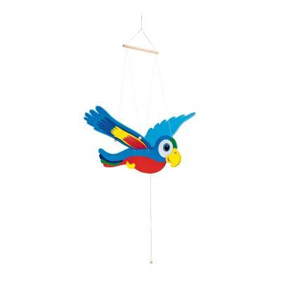 Drevený závesný papagáj