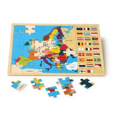 Drevené puzzle Európa s vlajkami